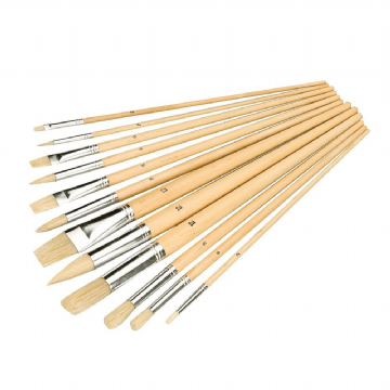 12 Piece Silverline 282606 Artists Paint Brush Set Assorted Mixed Tip 3mm-14mm